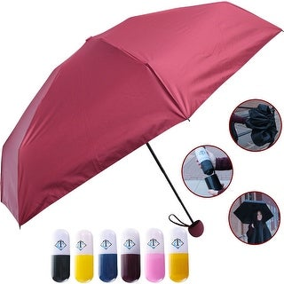 Travella Lightweight Umbrella Weatherproof No Drip Nano Coated UV Protection, Red