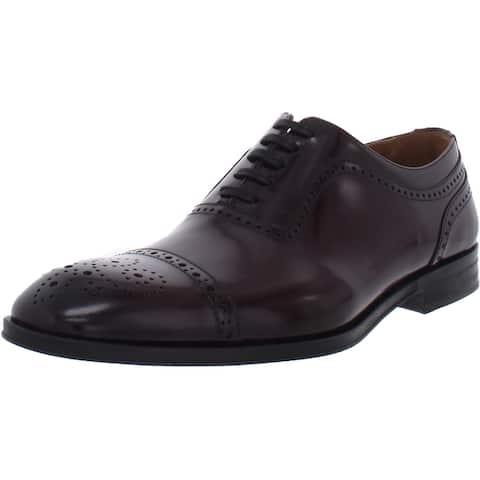 Bruno Magli Mens Ancona Oxfords Leather Brogue - Bordo Leather