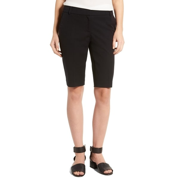 Halogen Solid Deep Black Women's Size 16 Bermuda Walking Shorts