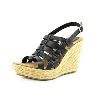 Mia Girl Basket Women  Open Toe Synthetic Black Wedge Heel