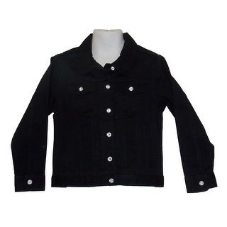 Little Girls Stretch Twill Straight Black Jacket With Crystal Buttons 2T-4T