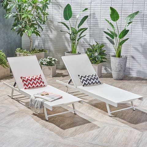 Salton Outdoor Aluminum Chaise Lounge (Set of 2) by Christopher Knight Home