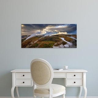 Easy Art Prints Panoramic Images's 'Steam emerging from hot springs, Storihver, Iceland' Premium Canvas Art