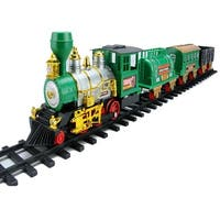 20-Piece Battery Operated Lighted and Animated Classic Christmas Train Set with Sound - green
