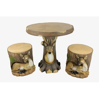 3-Piece Deer and Fawn in Tree Table & Chair Novelty Garden Patio Furniture Set