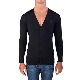 Versace Men's Medusa Head Cardigan Sweater Black