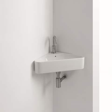 """WS Bath Collections Normal 04W 22-1/16"""" Ceramic Wall Mounted Bathroom Sink with 1 Hole Drilled and Overflow from the Normal"""