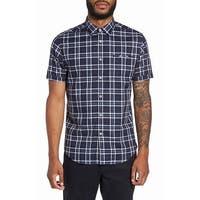 Good Man Brand Navy Blue Mens Size 2XL Button Down Plaid Shirt