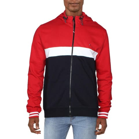 Tommy Hilfiger Mens Hoodie Colorblocked Zip Front - Red/White/Navy