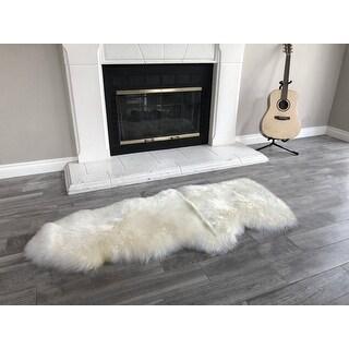 Dynasty Natural 1-1/2 Pelt Luxury Long Wool Sheepskin Shag Rug - 2' x 4'