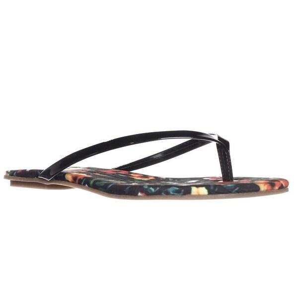 DV by Dolce Vita Derika Flip Flop Flat Sandals, Black Floral