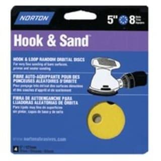 """Norton 49157 8 Hole Hook & Loop Sanding Disc, 5"""", 4 Pk"""