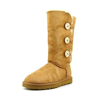 Ugg Australia Bailey Button Triplet Women Round Toe Suede Tan Winter Boot