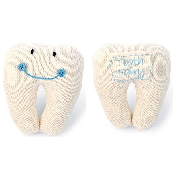 Mud Pie Knit Smiling Sweater Tooth Pillow with Pocket for Tooth - Blue
