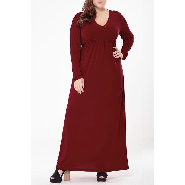 Shop QZUnique Women\'s Plus Size Solid Color Maxi Dresses V ...