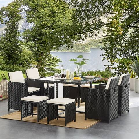 9 Pieces Outdoor Patio Furniture Dining Table Sets with Cushions, Wicker Furniture Set with Dining Table