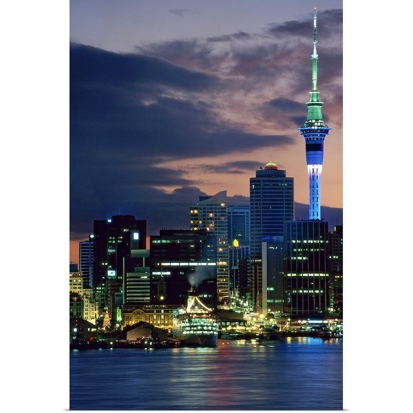 """""""Sky Tower and cruise ships in Auckland Harbour, North Island, New Zealand"""" Poster Print"""