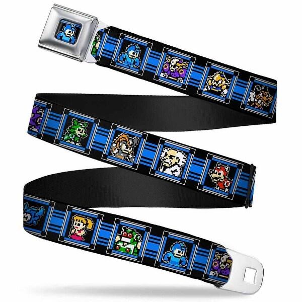 Megaman 8 Bit Stripes Full Color Black Blues Megaman 8 Bit Character Blocks Seatbelt Belt