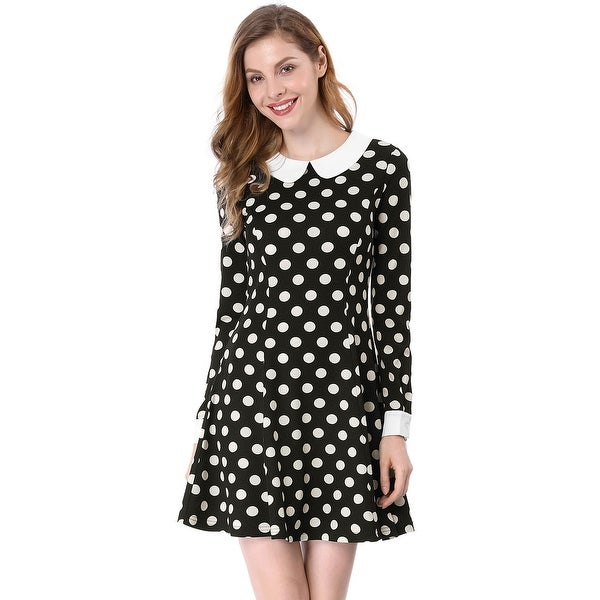 Allegra K Women Polka Dot Contrast Collar Above Knee A Line Dress