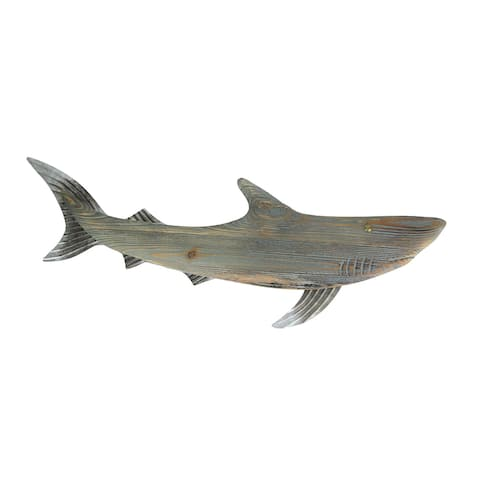 Verdigris Wood Shark Wall Sculpture Metal Accent Decorative Hanging Plaque Art - 13.5 X 30 X 1 inches