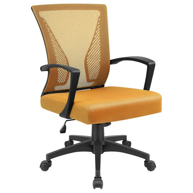 Office Chair Mid Back Swivel Lumbar Support Desk Chair, Computer Ergonomic Mesh Chair with Armrest - Orange