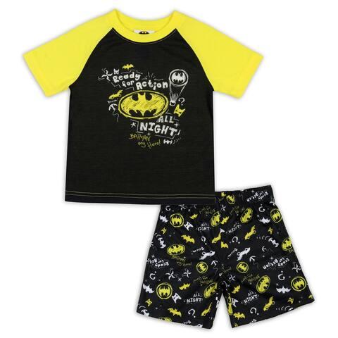 DC Comics Toddler Boys' Batman Pajamas Ready For Action Short Sleeve Shirt and Shorts 2 Piece Superhero Pajama Set