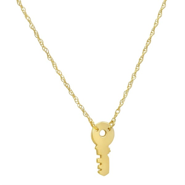 Amanda Rose 14k Yellow Gold Mini Key Necklace