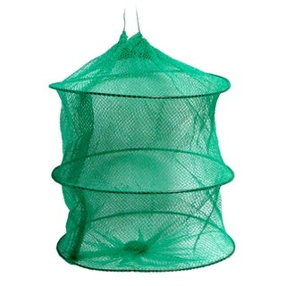 Unique Bargains Nylon 3 Layers Foldable Fishing Landing Net Fish Basket for Fishermen Shrimp Green