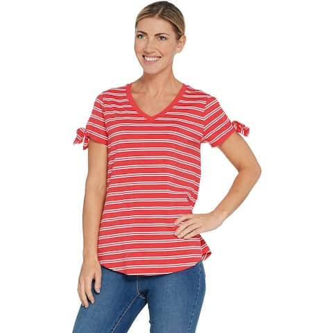 Isaac Mizrahi Live! Womens V-Neck Top with Tie Sleeve Detail Plus 1X Red A306454