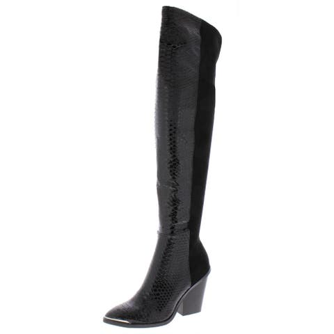 Dolce Vita Womens Jethro Over-The-Knee Boots Faux Suede Snake