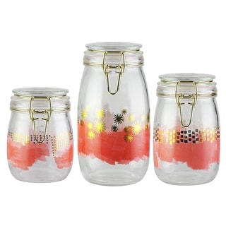Style Setter Soiree Pink Set of 3 Hermetic Glass Jars Canister Set 25, 34 and 51 oz. Capacity