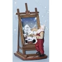 "10.25"" Blue and Gold Colored Santa Painting a Christmas Scene Tabletop Figure - LED Lights"