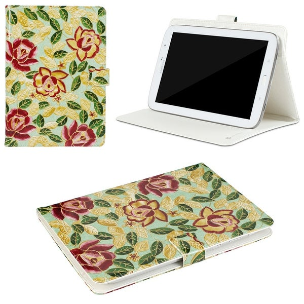 "JAVOedge Peony Leaves Universal 7-8"" Book Case for the iPad Mini, Samsung Tab, Nexus 5, Nook HD (Green)"