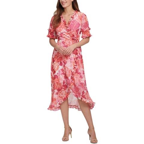 Kensie Womens Wrap Dress Floral Ruffled