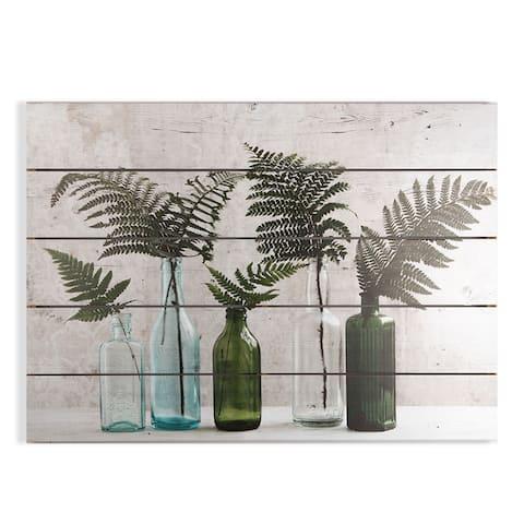 "Graham and Brown 104587 Botanical Bottles 20"" x 28"" Frameless Botanical Painting on Wood - Green"