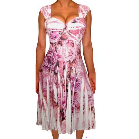 Funfash Plus Size Women Empire Waist Pink White A Line Slimming Dress
