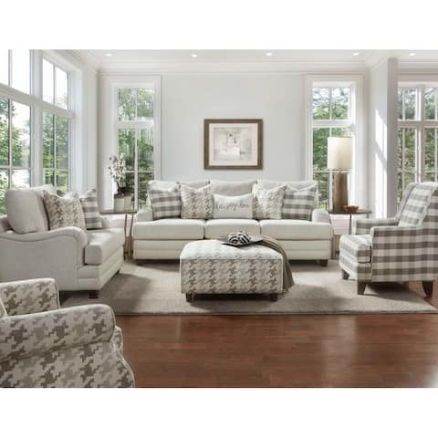 Brock Off-white Buffalo Check Berber Accent Chair