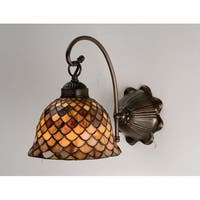 """Meyda Tiffany 18631 Fishscale 8"""" Wide 2 Light Wall Sconce with Stained Glass Shade"""