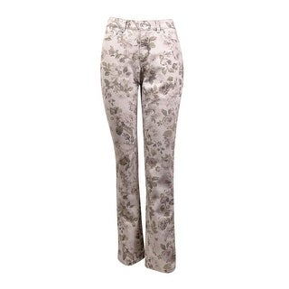 Charter Club Women's Printed Lexington Straight Jeans - floral grey combo