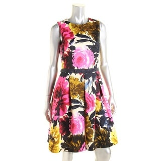 Taylor Womens Floral Print Pleated Wear to Work Dress - 8