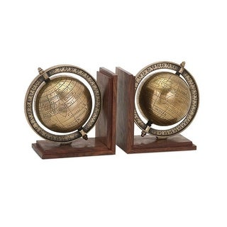 Set of 2 Old World Style Decorative Bronze Colored Globe Bookends 7.5