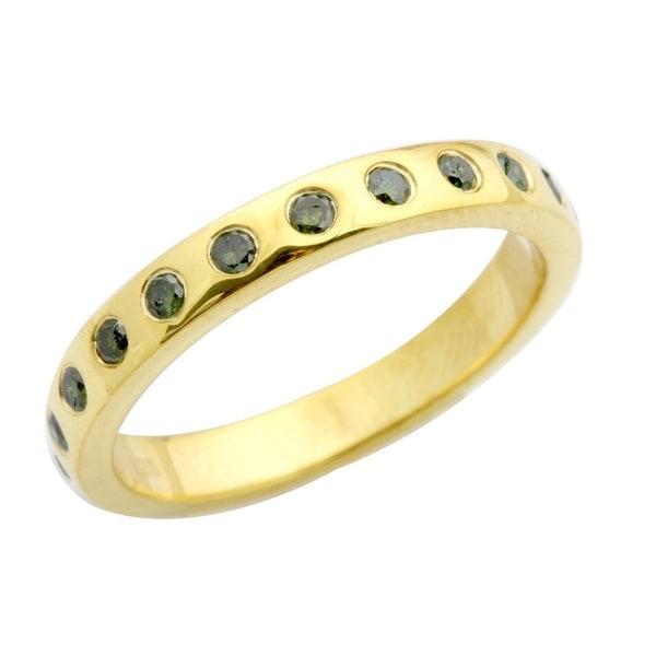 Brand New 0.25 Carat Bezel Set Green Diamond Wedding Band