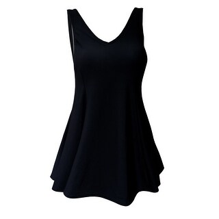 V-Neck Swimdress with Tank Style Straps in Black