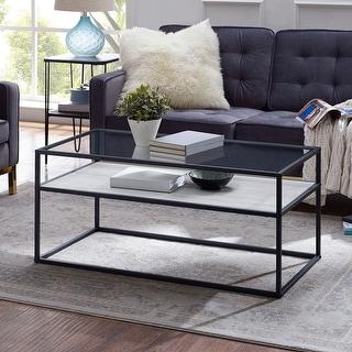 Offex Modern Reversible Shelf Coffee Table - White Faux Marble/Dark Concrete