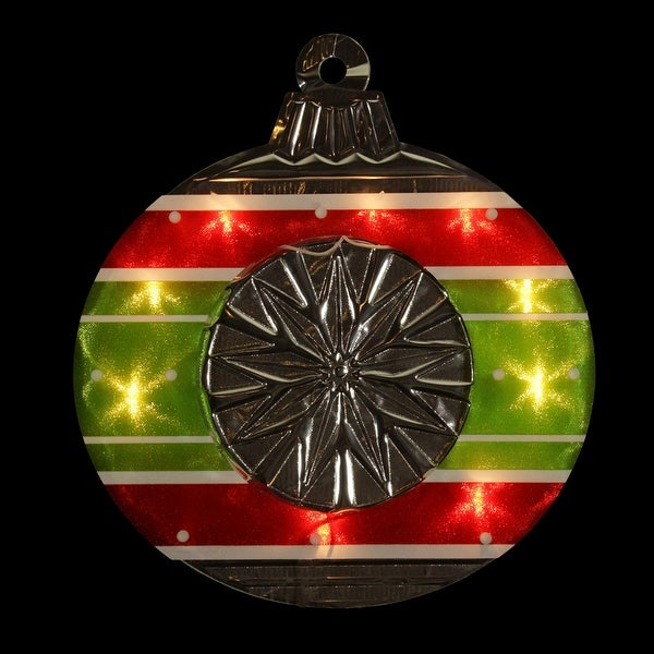 """15.5"""" Lighted Shimmering Red, Green, White & Silver Ornament Christmas Window Silhouette Decoration - RED"""