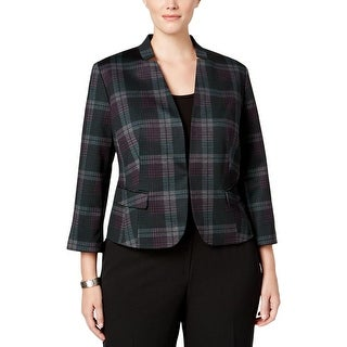 Nine West Womens Plus Blazer Plaid 3/4 Sleeves - 18W
