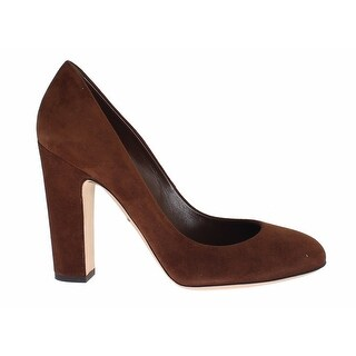 Dolce & Gabbana Brown Suede Block Heels Classic Pumps Shoes - 39