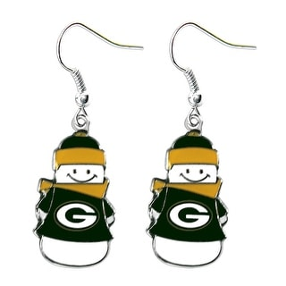 Green Bay Packers NFL SNowman Holiday Dangle Logo Earring Set Charm Gift