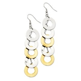 Stainless Steel IP Gold Plated & Polished Circle Dangle Earrings