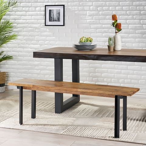 Pisgah Handcrafted Modern Industrial Mango Wood Dining Bench by Christopher Knight Home